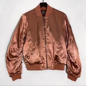 Lulu's | Rusty Rose Satin Bomber Jacket M